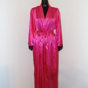 Vintage 80s Hot Pink Robe by Fredricks in sz Small